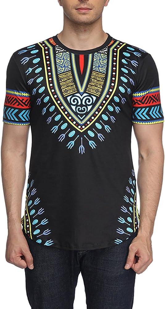 Los Hombres De Manga Corta Camiseta Tribal Africana Dashiki Hipster Hip Hop Tops Black S: Amazon.es: Ropa y accesorios