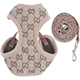 BWSC New Brown Floral Soft Dog Harness And Lead Set For Chihuahua Puppy Pug