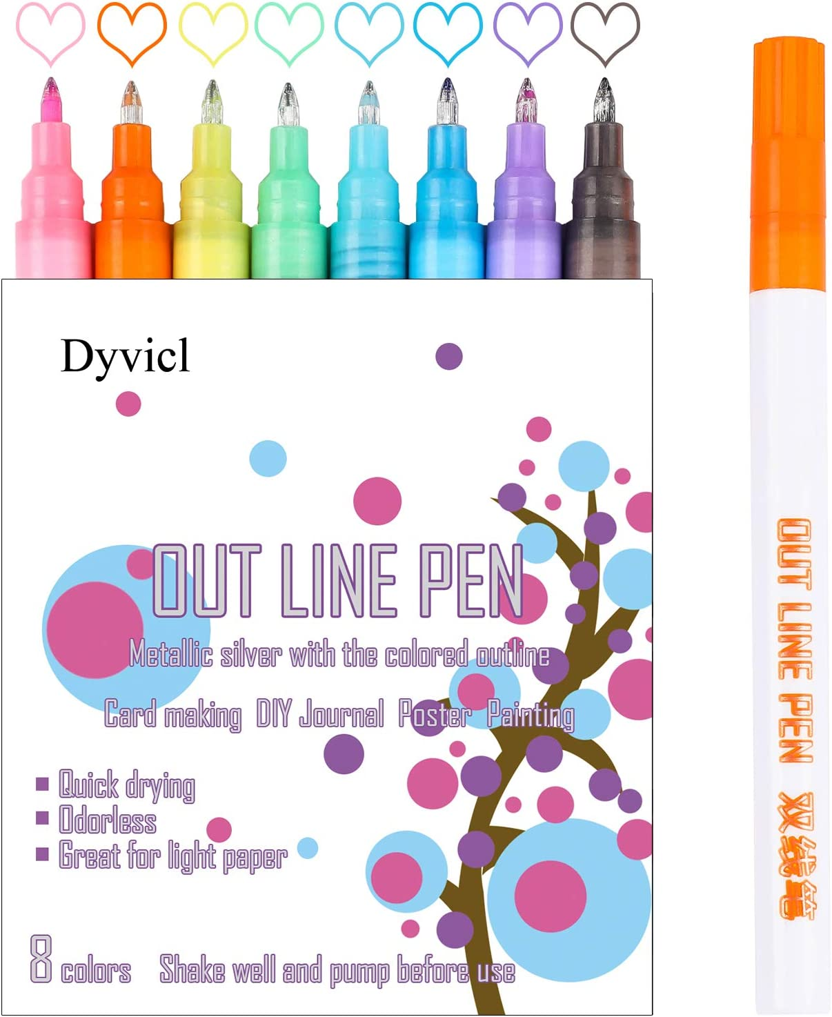 Double Line Pen Outline Pen Self Outline Metallic Markers Card Making 0.7 mm Extra Fine Point Metallic Outline Markers for Scrapbooking Poster Drawing 8 Colors Photo Signature Painting