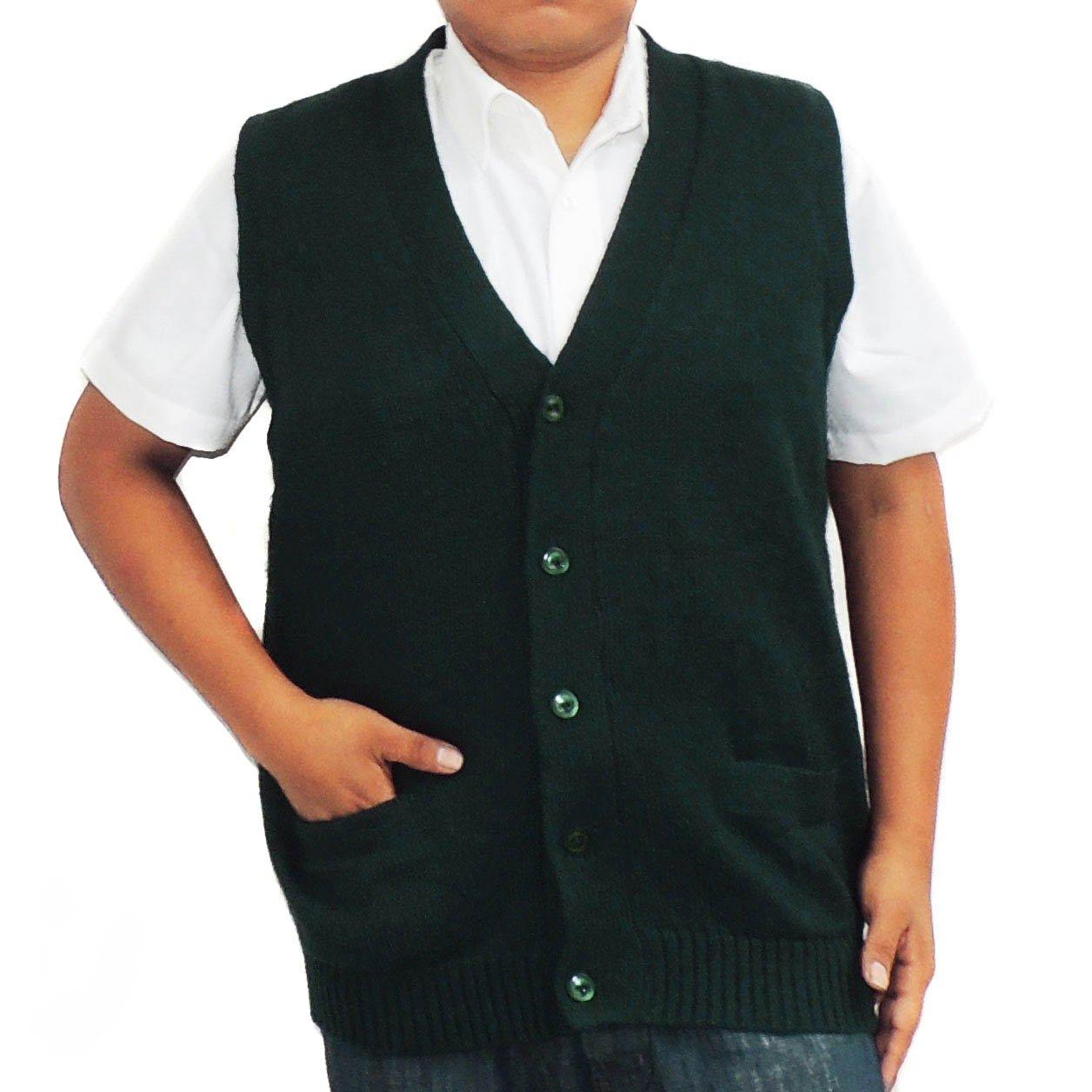 Vest alpaca and blend V neck buttons made in Peru Dark Green