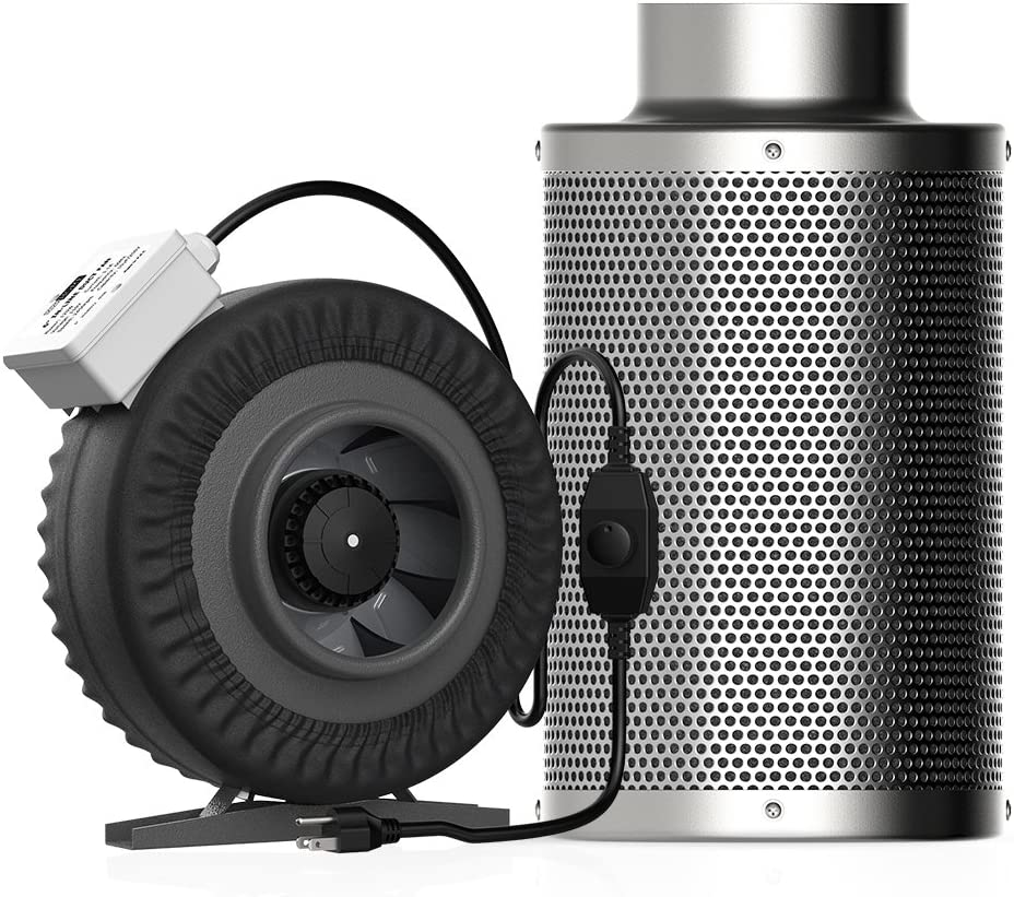 VIVOHOME 6 Inch 440CFM Inline Duct Fan with Speed Controller Leather Sheath and Air Carbon Filter Odor Control Scrubber for HVAC Ventilation 2 Sets