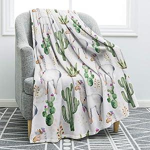Jekeno Llama Alpaca Throw Blanket Cute Soft Blanket for Sofa Chair Bed Office Travelling Camping 50