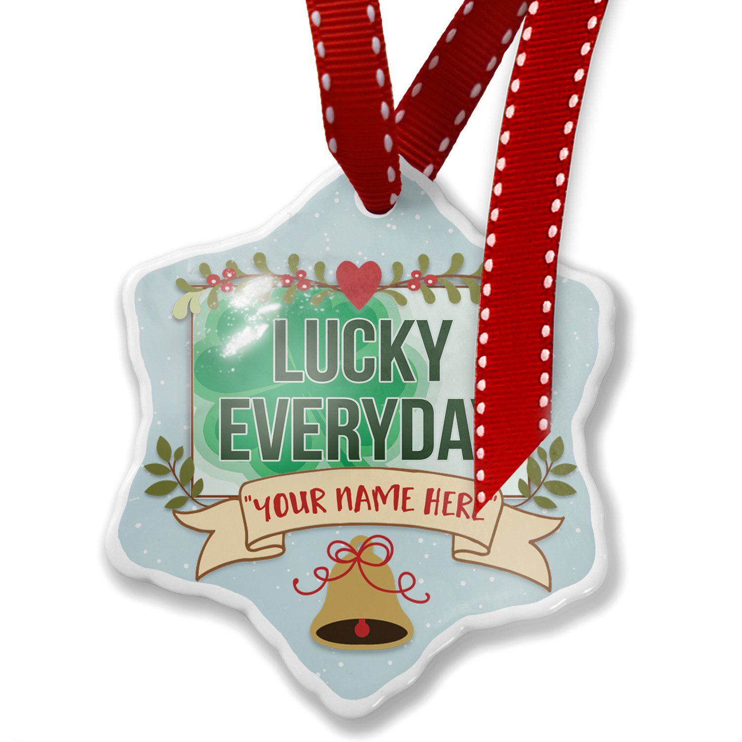 Add Your Own Custom Name, Lucky Everyday St. Patrick's Day Large Shamrock Christmas Ornament NEONBLOND