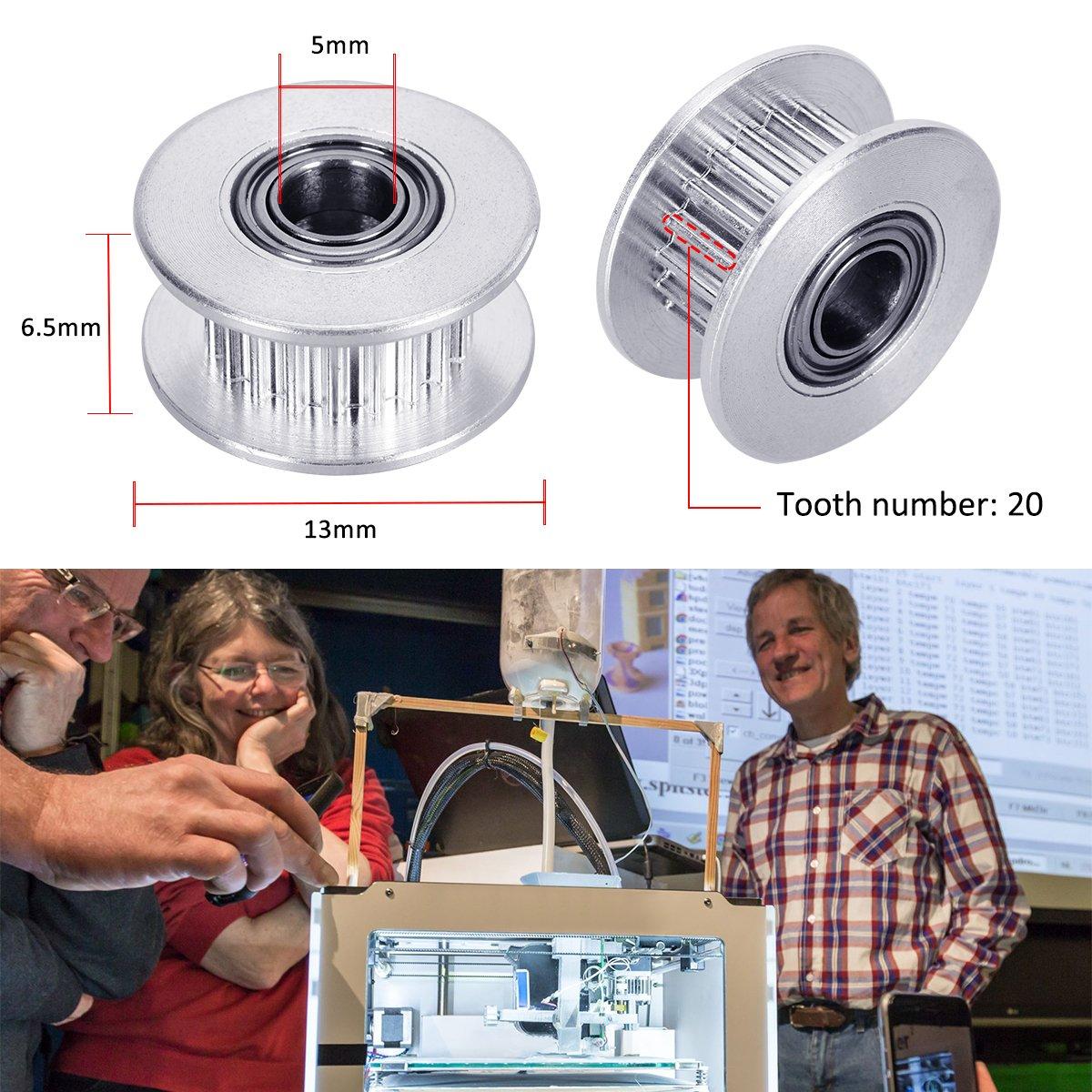 OZUAR 5 Pack GT2 20Teeth 5mm Bore Aluminum Alloy Timing Belt Pulley 3d Printer Accessories for 6mm Width Timing Belt