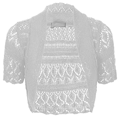 Amazon.com: Torera tejida a crochet manga corta para mujer ...
