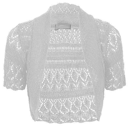 Thever Women Short Sleeve Knitted Crochet Shrug Bolero Cardigan