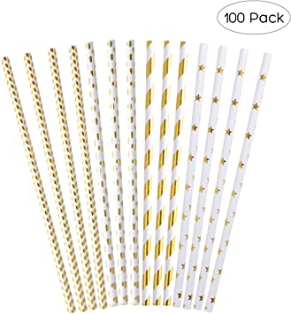 Gold-Weiß gestreifte Trinkröhrchen im 20er Pack Pappe