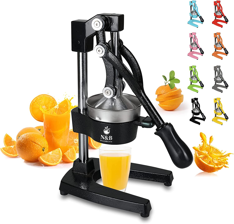 Professional Citrus Juicer Commercial Grade Manual Hand Press Orange Squeezer Heavy Duty Orange Juicer Metal Lemon Squeezer Premium Quality 2021 Upgrade,Dark Black