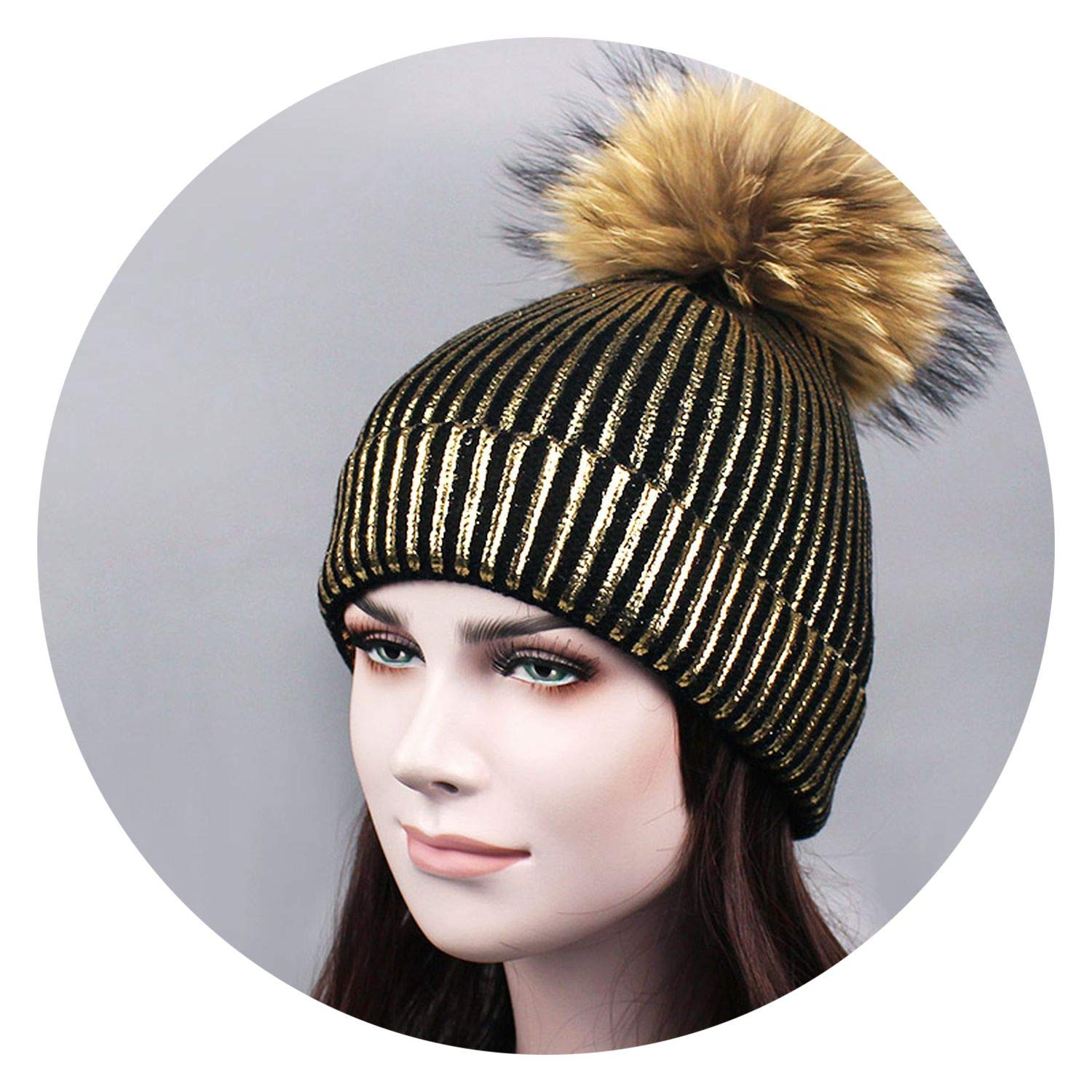 better-caress Bronzing Gold and Silver with caps crful Pompon hat for Women Winter Knitting Warm Hats