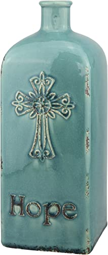 Stonebriar Decorative 12 Worn Turquoise Ceramic Bottle with Cross Detail, French Country Home Decor Accents, Vintage Vase Decoration for Dried or Artificial Flowers