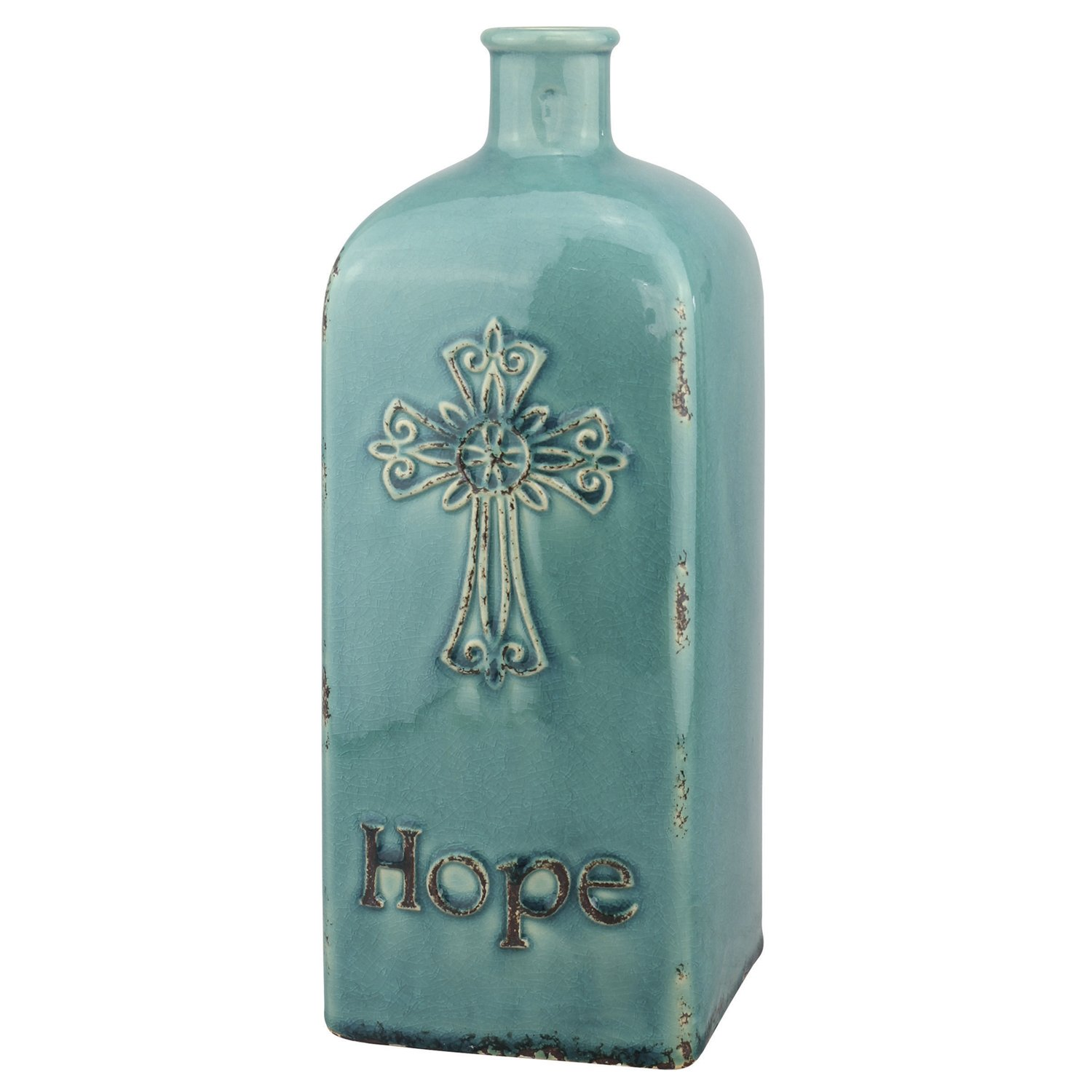 "Stonebriar Decorative 12"" Worn Turquoise Ceramic Bottle with Cross Detail, French Country Home Decor Accents, Vintage Vase Decoration for Dried or Artificial Flowers"