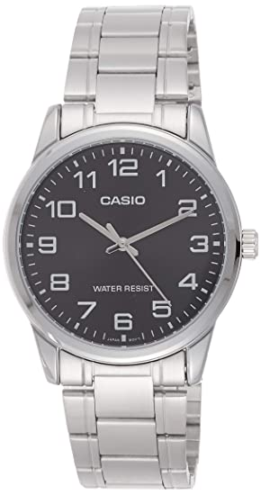 Casio #MTP-V001D-1B Mens Standard Stainless Steel Easy Reader Black Dial Watch