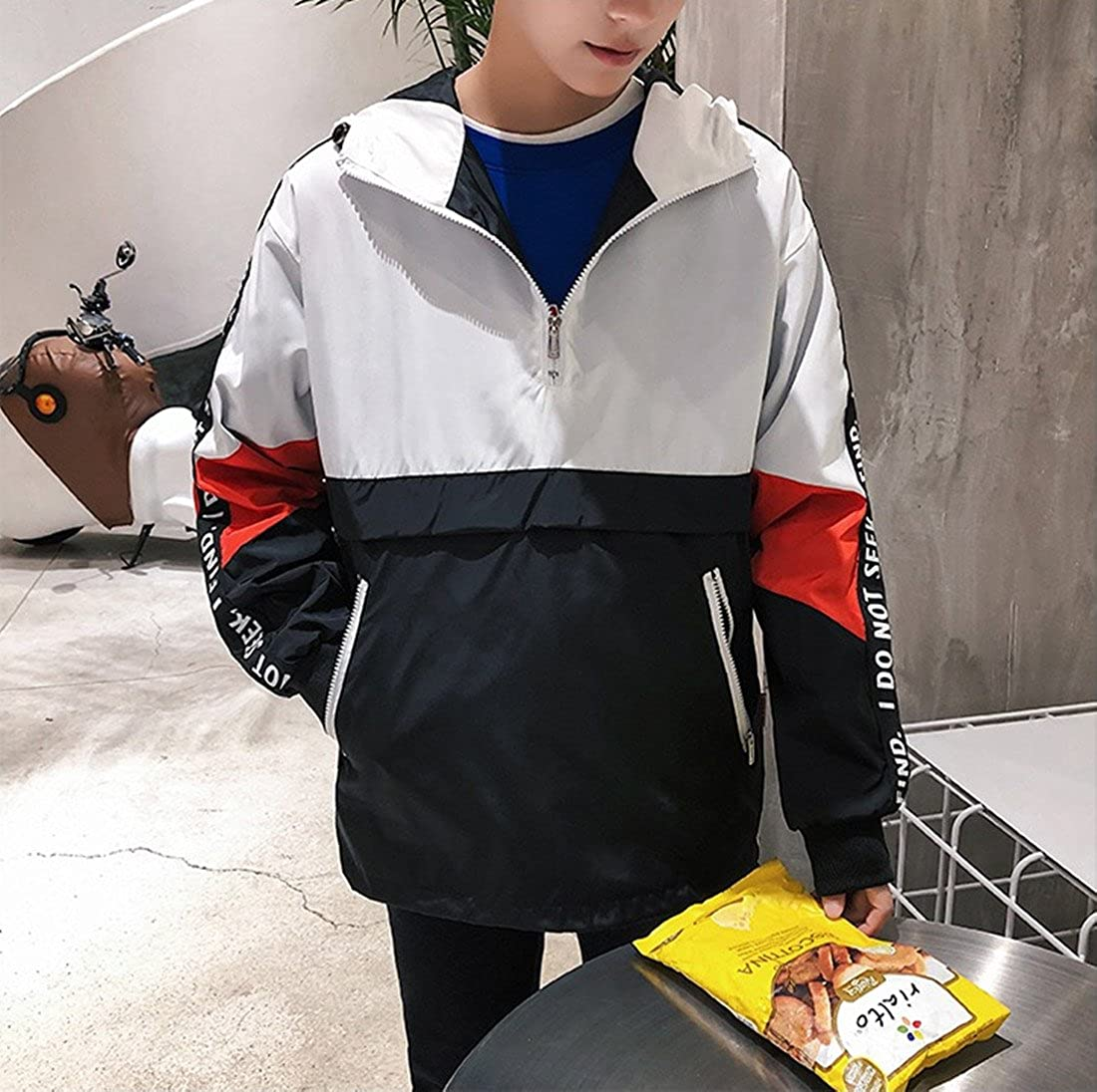 Hzcx Fashion Mens Pullover Hooded Waterproof Lightweight Windbreaker Jackets