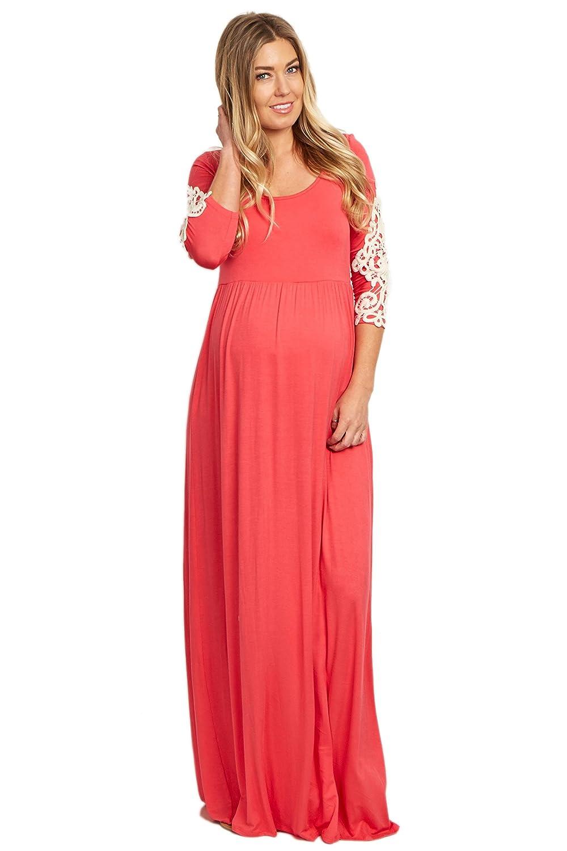 b81869a45a PinkBlush Maternity Crochet Sleeve Maxi Dress at Amazon Women s Clothing  store