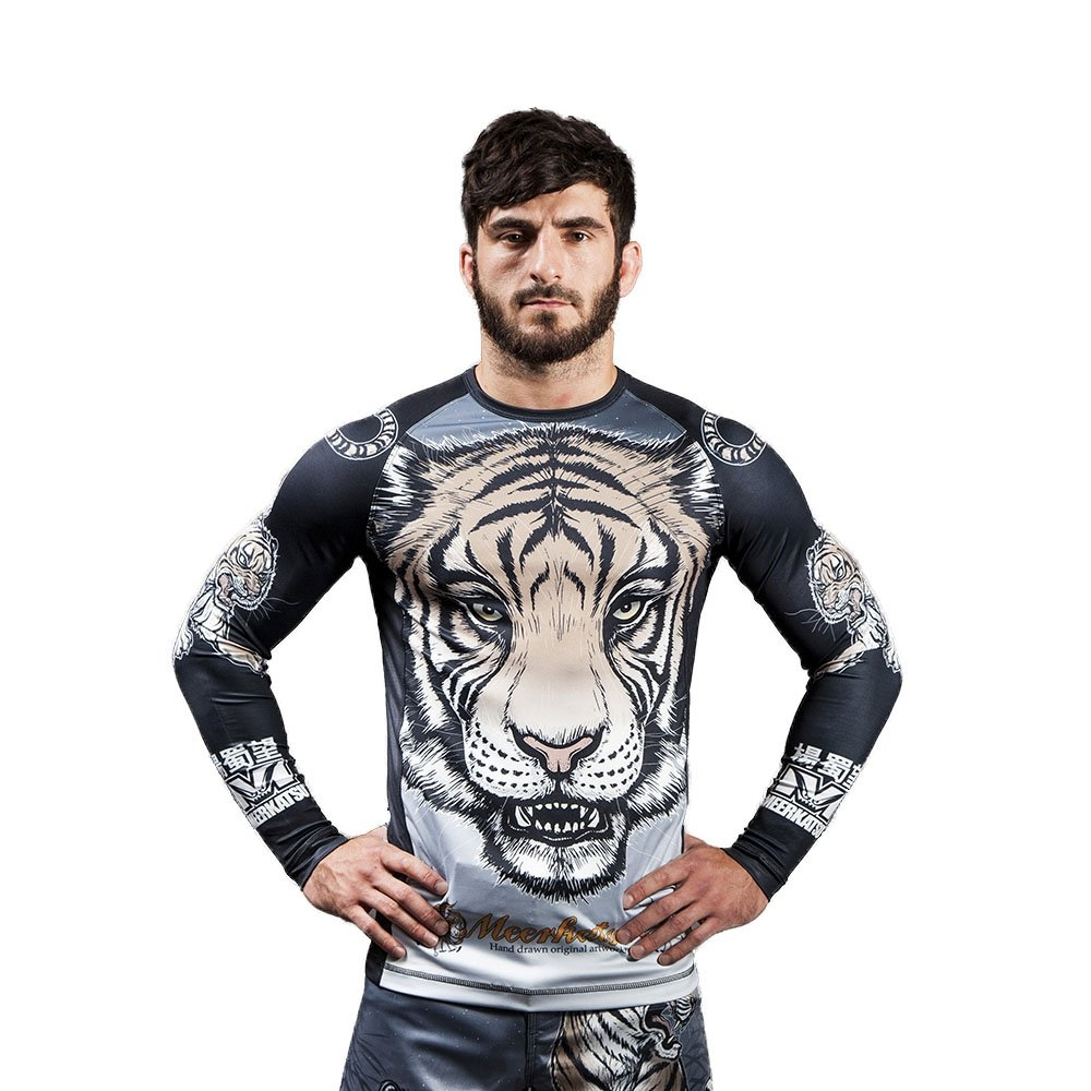 Meerkatsu Midnight Tiger Mens Rash Guard Grey