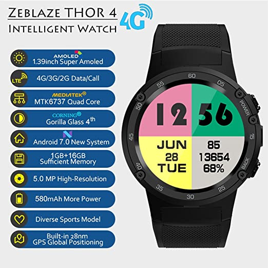 Zeblaze Thor 4 Flagship 4G LTE GPS SmartWatch Android 7.0 ...