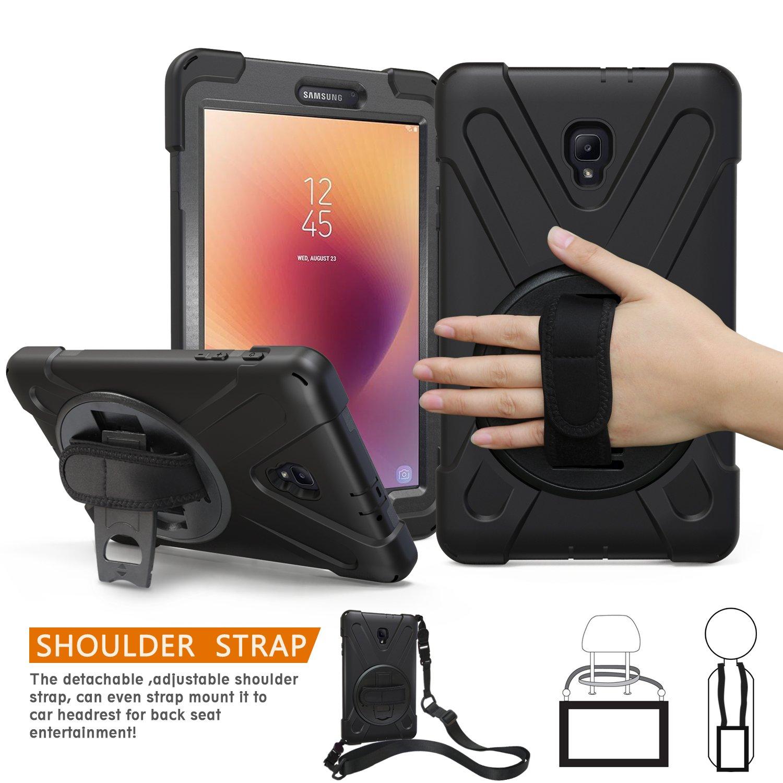 Galaxy Tab A 8.0 2017ケース( sm-t380 / t385、braecn Three Layer Heavy Dutyソフトシリコンハードバンパーケース360度回転可能キックスタンド/調整可能なハンドルと肩ストラップ  ブラック B0788L8R5V