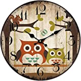 Cloud RackQuartz Circular Owl Wall Clock F 16 Inches F16