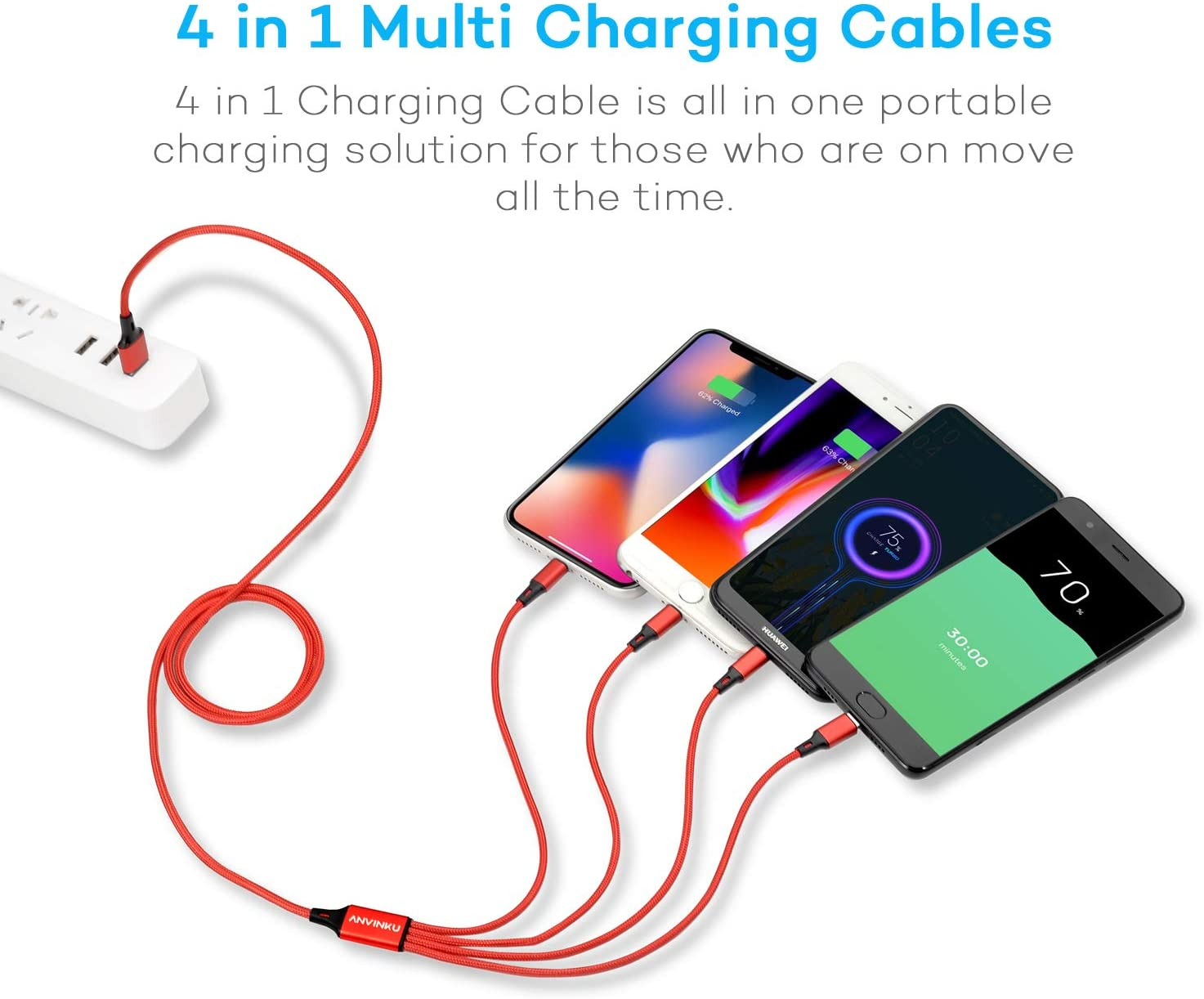 Multi-Charging Cable Horse Runs Freely On The Grassland Multi 3 in 1 Retractable Multi Fast Charge Cable with Micro USB//Type C Compatible with Cell Phones Tablets and More