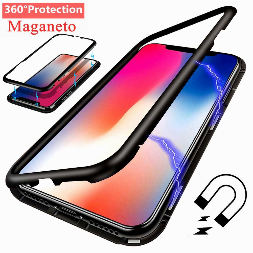 iPhone X Case, I-VIKKLY Ultra Slim [360° Full Protection] [Magnetic Adsorption Technology] [Metal Frame Tempered Glass Back] [Support Wireless Charging] [Shockproof] Case for iPhone X/10 (Black)