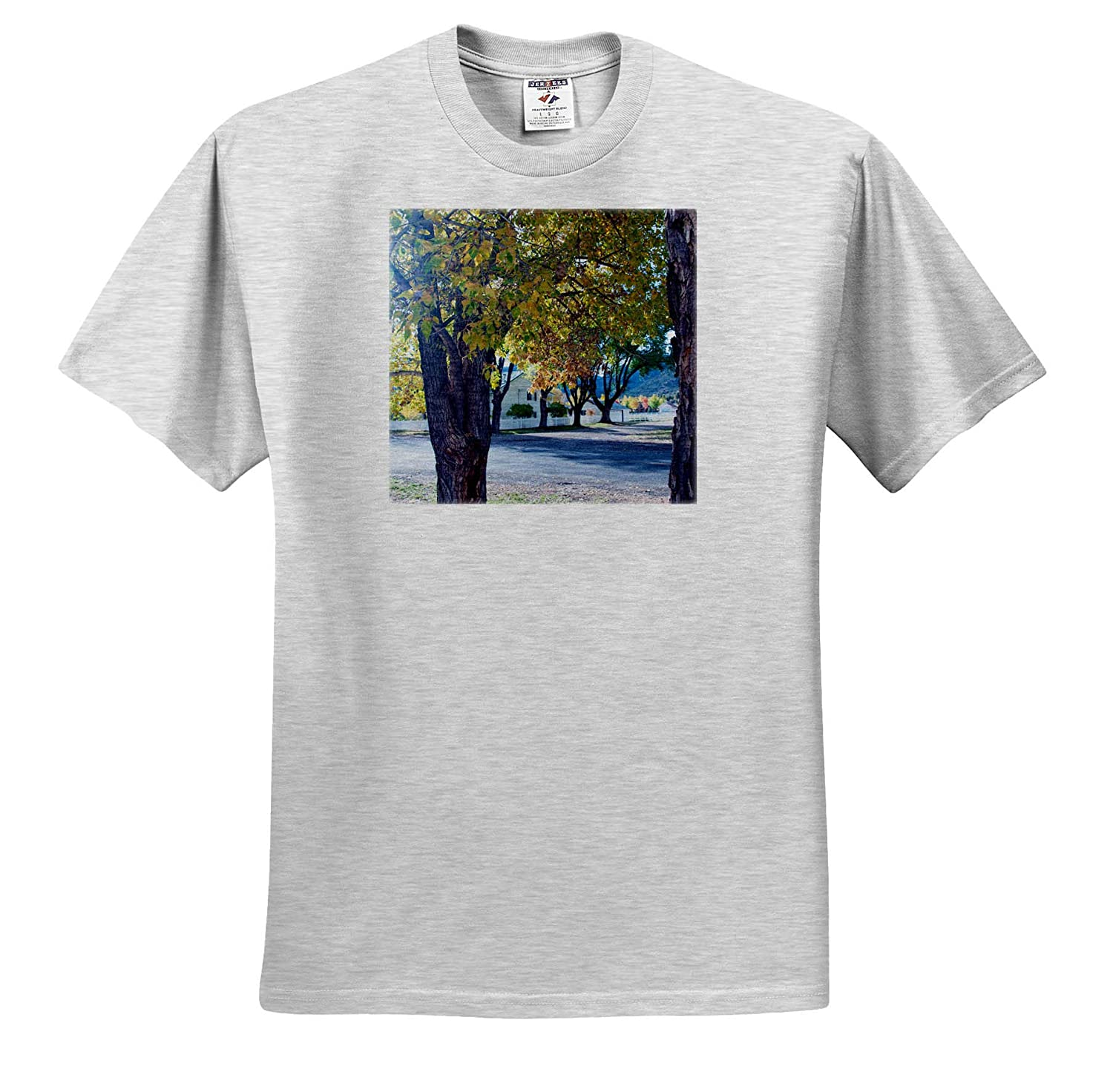 Adult T-Shirt XL 3dRose Jos Fauxtographee- Fall Town A Home in The Background with Fall Trees up Front ts/_309687