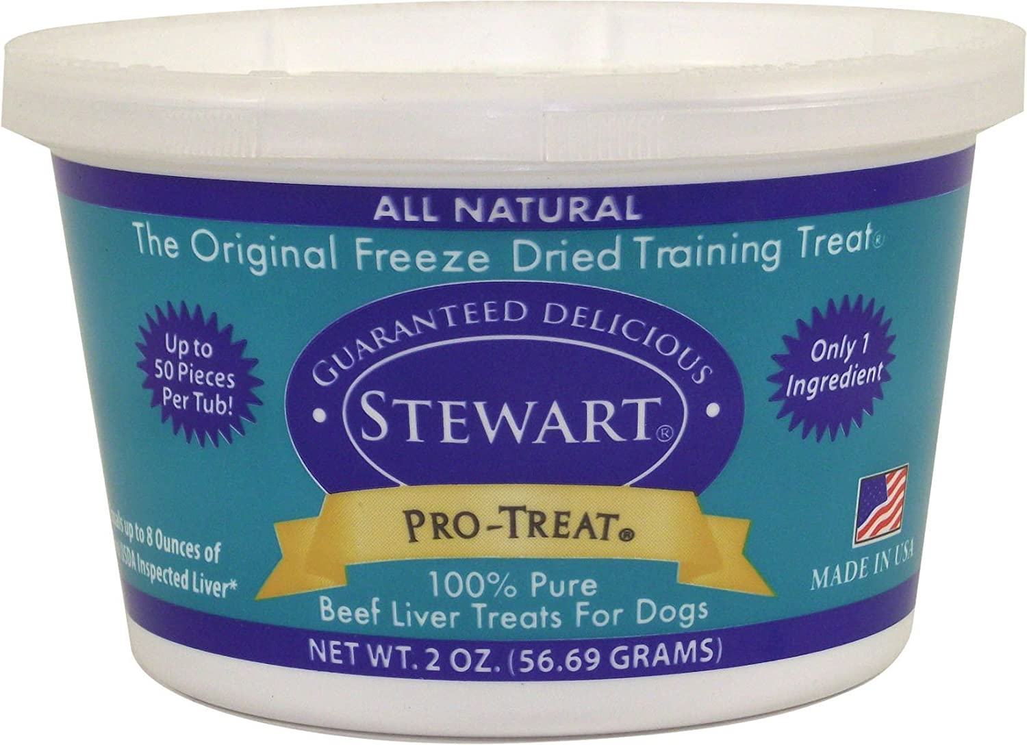 Stewart Freeze Dried Beef Liver Dog Treats, Grain Free, All Natural, Made in USA by Pro-Treat, 2 oz, Resealable Tub