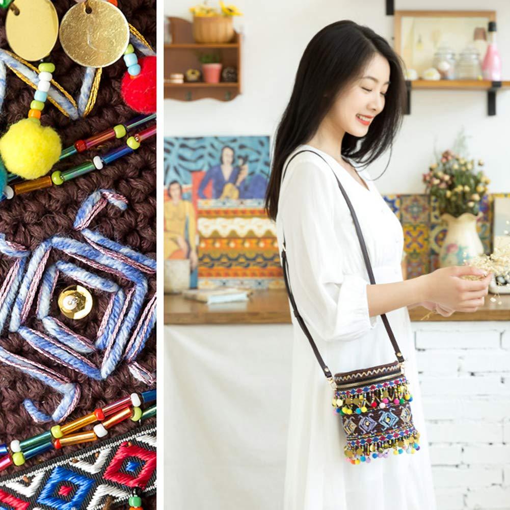 XXSC-ZC DIY indisk stil buckväska material paket inklusive 200 g garnbollar och 3 mm virkning för virkning, stickningskit, rödbrun, röd Brun