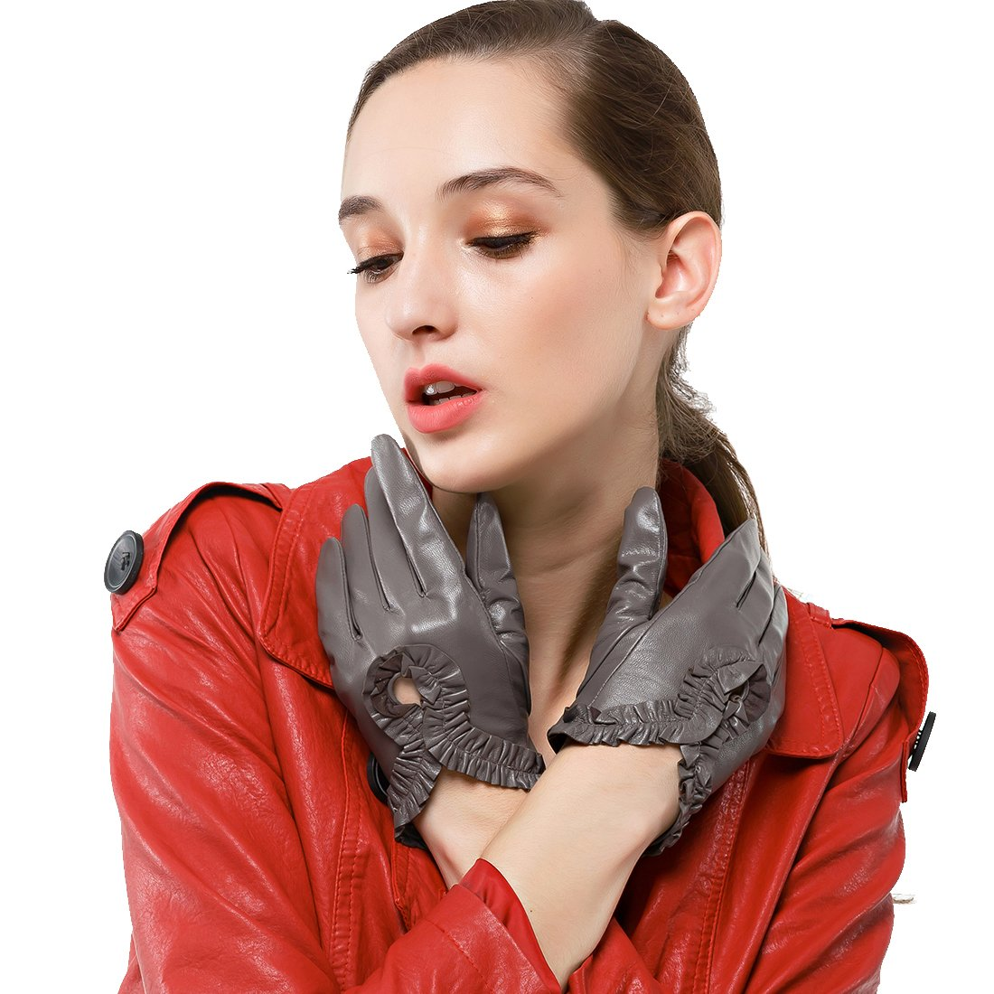 Nappaglo Women's Italian Nappa Leather Gloves Wrist Curved Simple Driving Unlined Gloves (Touchscreen or Non-Touchscreen) (L (Palm Girth:7.5''-8''), Grey (Non-Touchscreen))
