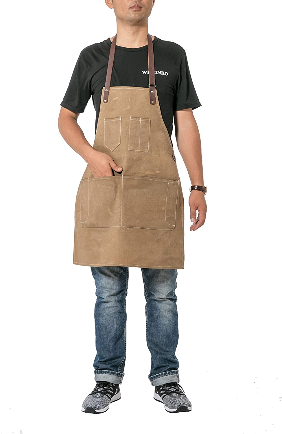 Grey Adjustable Waist Ties /& Leather Neck Strap Tool Aprons for Women Men CYWQ31 ChengYi 12 OZ Waxed Canvas Work Apron 7 Pockets Stylish Durable Coffee//Chef//Workshop Apron Pockets and Pen Holder