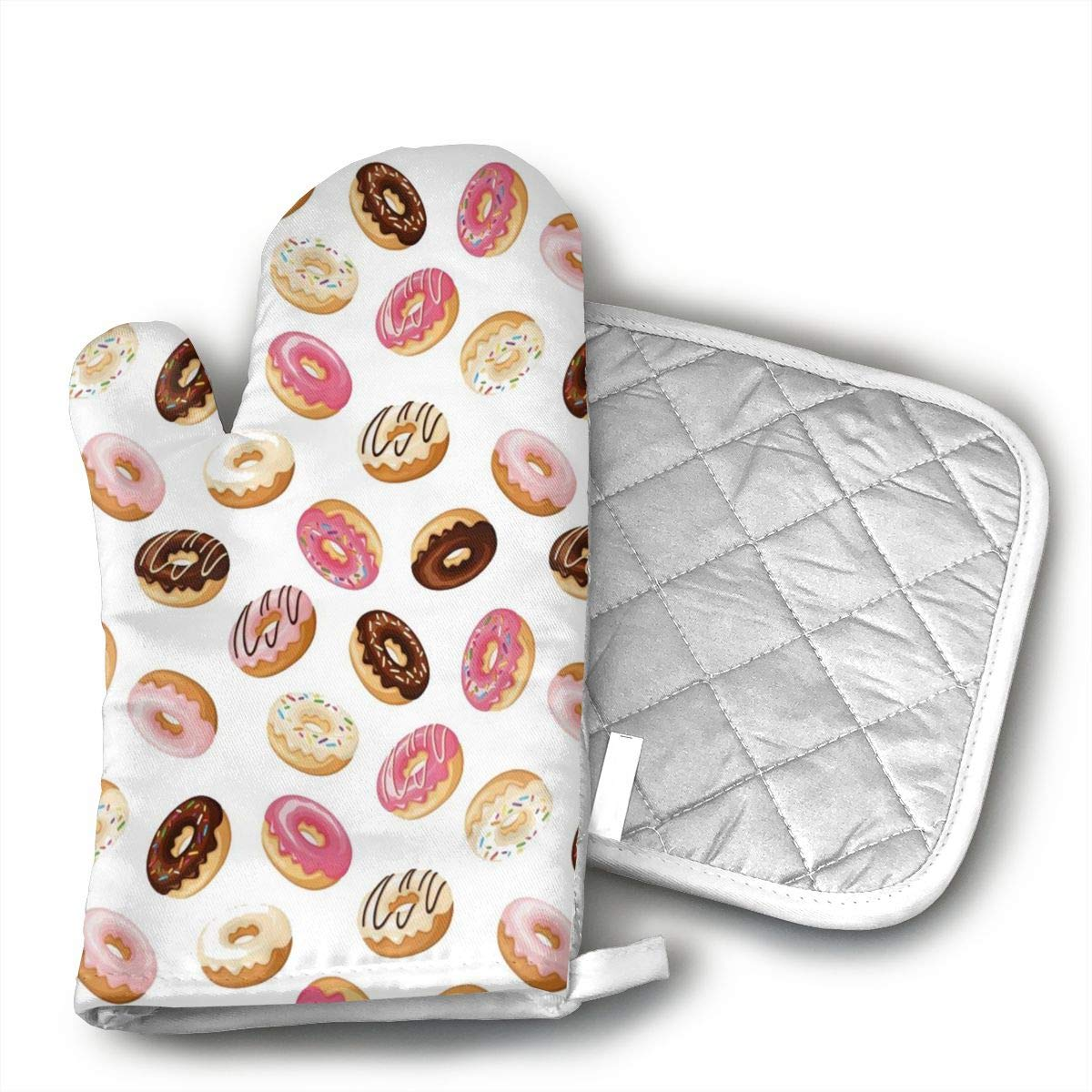 Breakfast Fast Food Dessert Donuts Oven Mitts,Professional Heat Resistant Microwave Oven Insulation Thickening Gloves Soft Inner Lining Kitchen Cooking Mittens