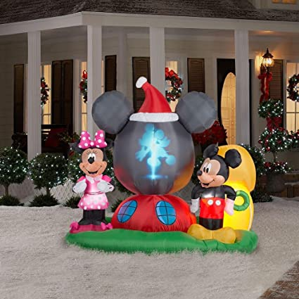 disney mickey minnie airblown panoramic projection inflatable - Disney Outdoor Christmas Decorations