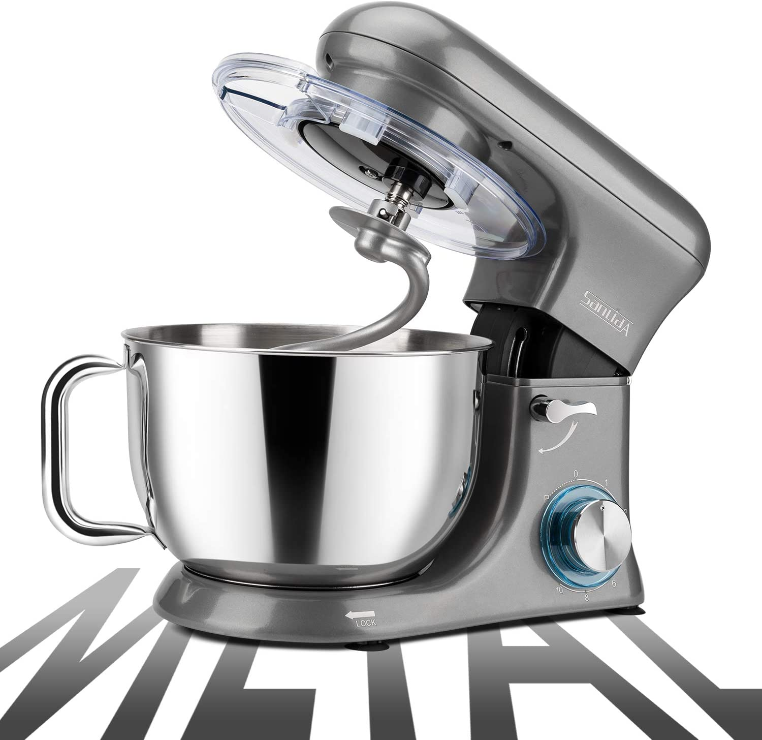 SanLidA All-Metal Stand Mixer, 6.5 Qt. 10-Speed Electric Kitchen Mixer with Dishwasher-Safe Dough Hooks, Flat Beaters, Whisk & Pouring Shield Attachments for Most Home Cooks, 600W, SM-1515, Pearl Grey