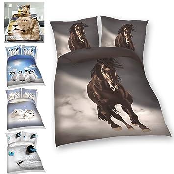 2 Tlg Bettwäsche Set Verschiedene Tiermotive Mit Integriertem