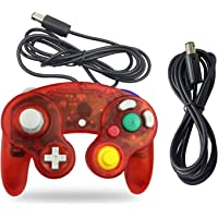 Gamecube Controller, AreMe 1 Pack Classic Wired Controller with Extension Cable for Nintendo Wii Gamecube GC Console (Clear Red)