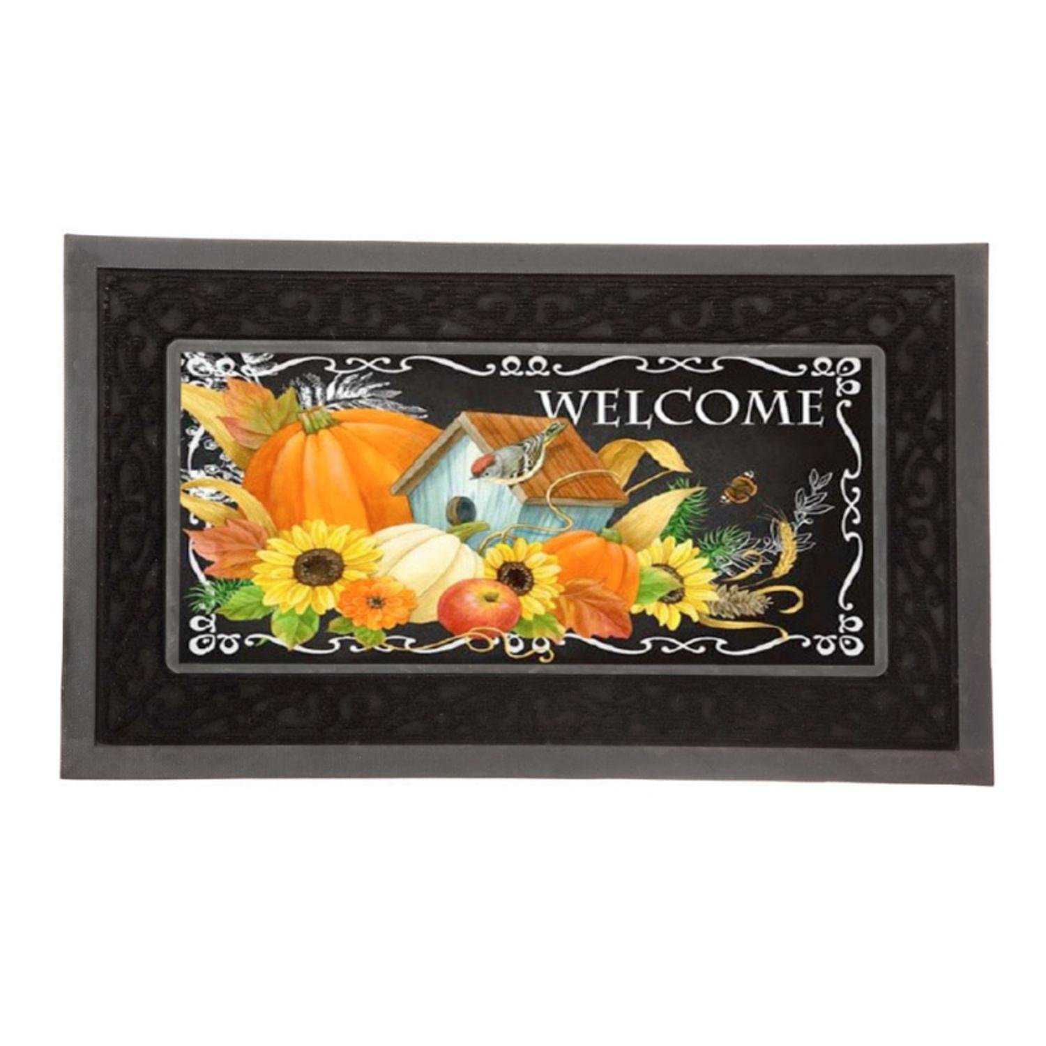 Evergreen Harvest Greetings Decorative Mat Insert, 10 x 22 inches Evergreen Enterprises
