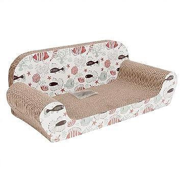 Nobleza - Caseta-rascador de cartón con diseño de sofá y con dibujo de peces y plantas - Para gatos, perfumada: Amazon.es: Deportes y aire libre