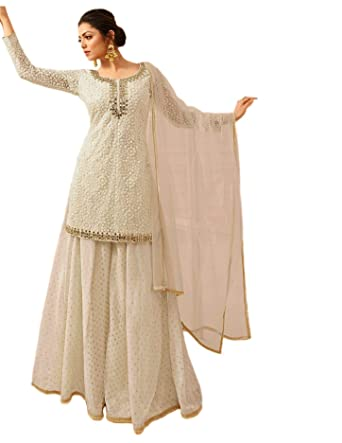 2261bafb73 Glamify Women's Net Semi-Stitched Sharara Suit (White_Free_Size ...