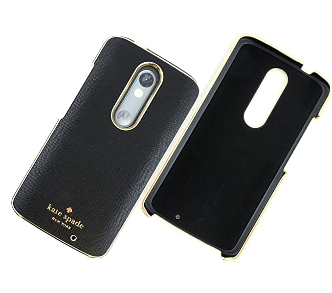 Kate Spade New York Wrap Case for Motorola DROID Turbo 2 Saffiano Leather - Black Gold