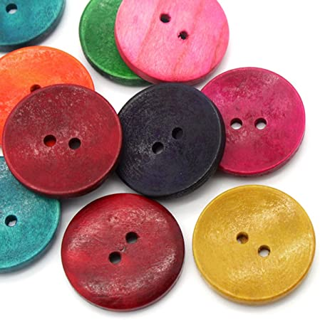 HOUSWEETY 50PCs Wood Sewing Buttons Scrapbooking 2 Holes Round Mixed 3cm(1 1/8