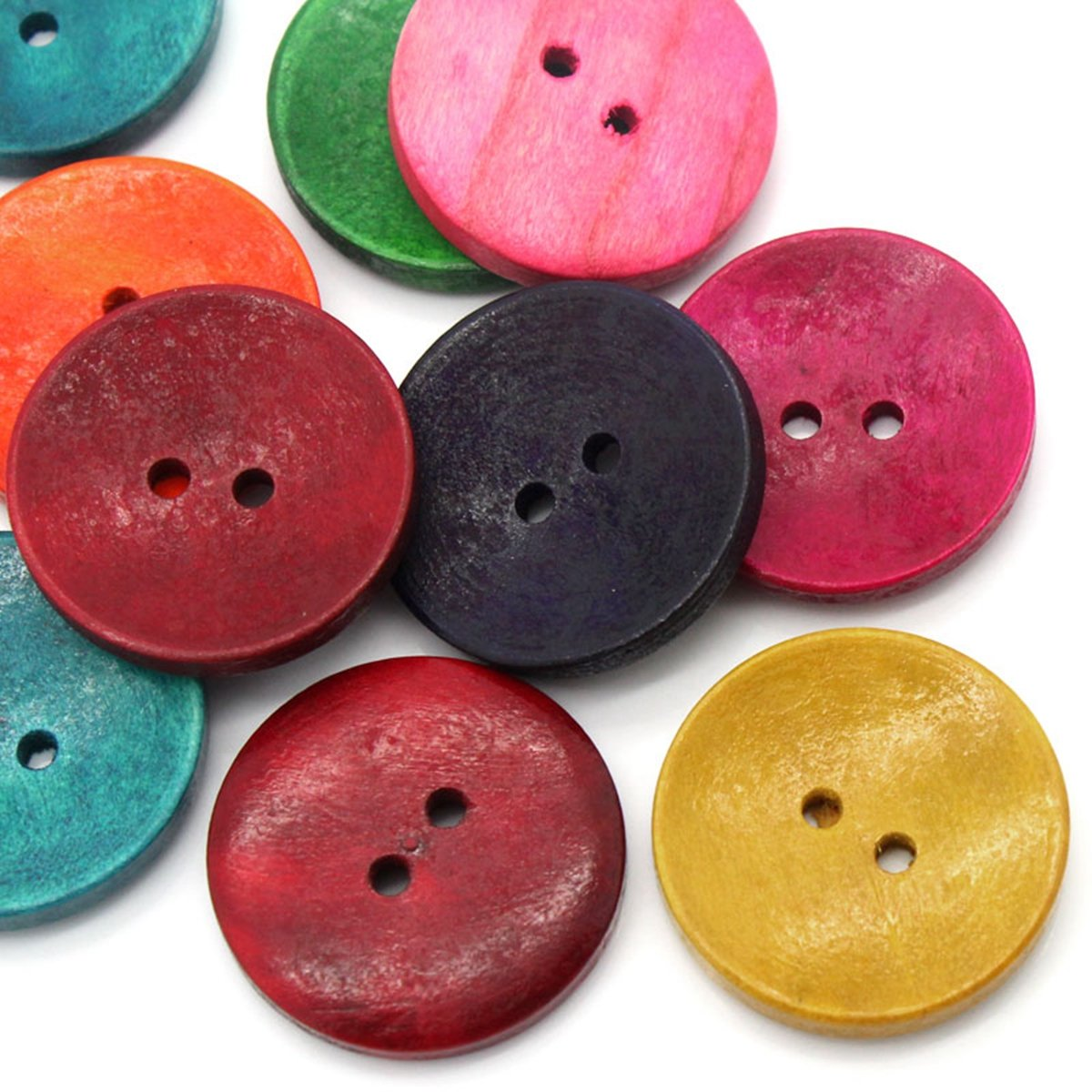 HOUSWEETY 50PCs Wood Sewing Buttons Scrapbooking 2 Holes Round Mixed 3cm(1 1/8) Dia. HOUSWEETYB23789