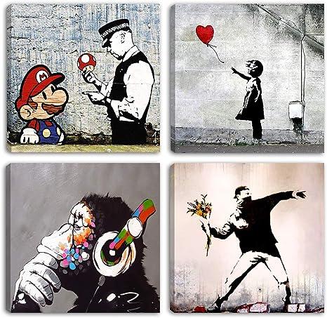 Degona Quadri Moderni Banksy 4 Pz Cm 30x30 Cad Stampa Su Tela Canvas Arredamento Arte Astratto Xxl Arredo Per Soggiorno Salotto Camera Da Letto Cucina Ufficio Bar Ristorante Amazon It Casa E Cucina
