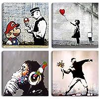 Degona - Cuadros modernos Banksy - 4 unidades de 30 x 30 cm cada una Impreso sobre lienzo, arte abstracto, XXL, para…