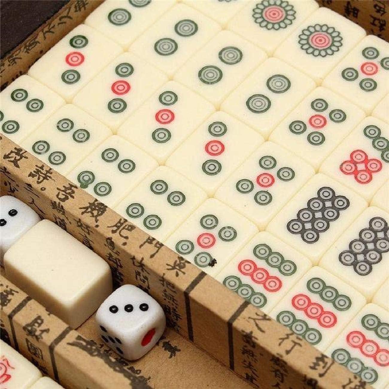 Portable Vintage Mahjong Rare Chinese 144 Tiles Mah-Jong Set Leather Case Box