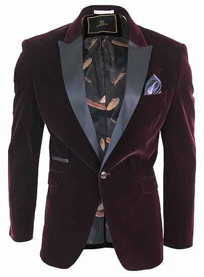 Men Soft Velvet Wine Maroon 1 Button Dinner Jacket Tuxedo Blazer