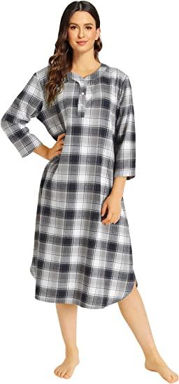 Nightgown Flannel Plaids 100/% Cotton Long /'Made in USA/'