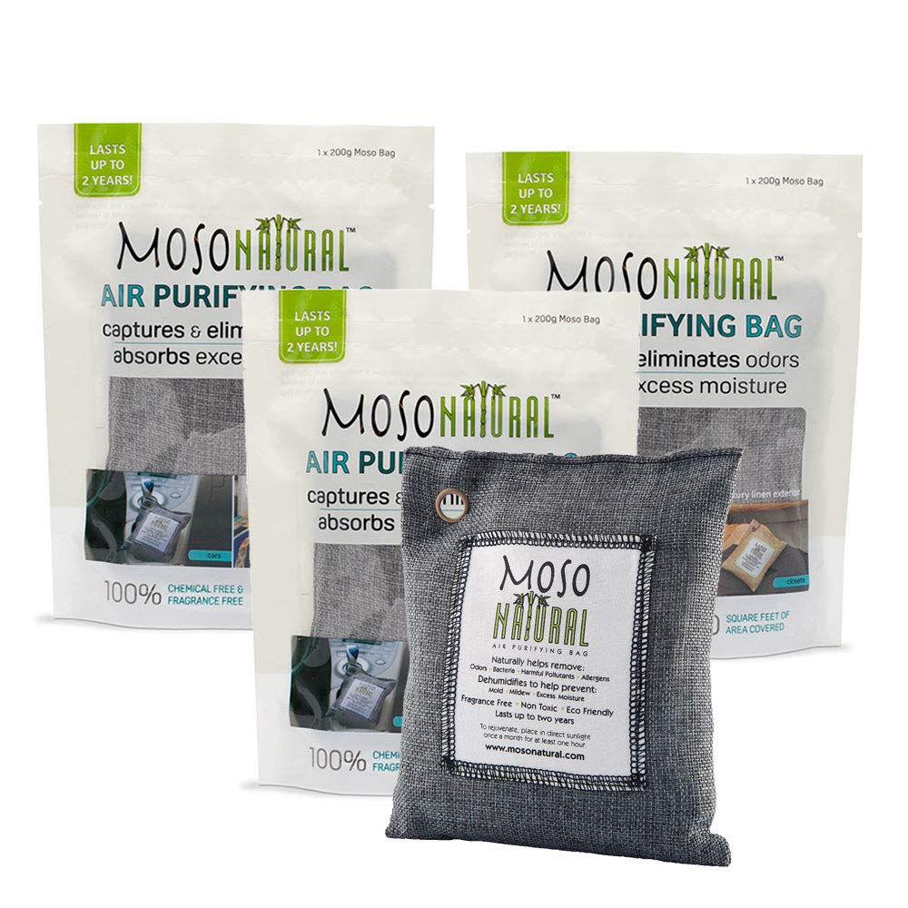 MOSO NATURAL Air Purifying Bags. Odor Eliminator and Odor Absorber. (3) Individually Sealed 200g Charcoal Deodorizer Bags. by MOSO NATURAL