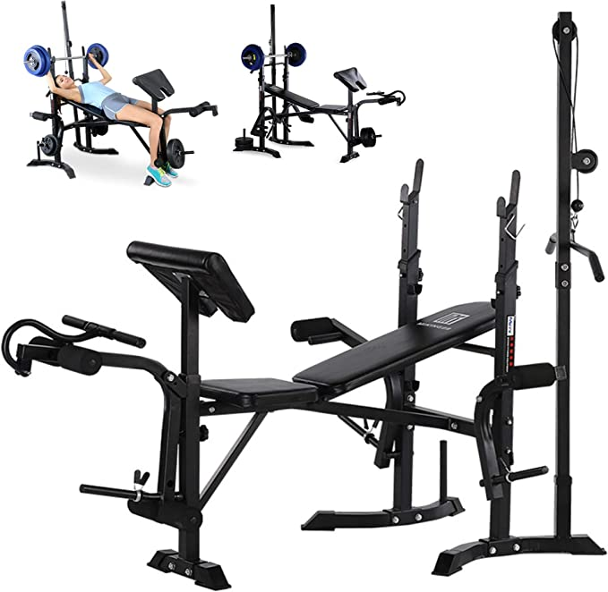 Details about  /Dumbbell Bench Weightlifting Bed With Bent Leg Extender and Crunch Handle