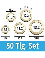 Assortimento di anelli Fitschen, set da 50 pezzi dal diametro di 9, 10, 11, 12, 13 mm, rondella in acciaio inox. Cerniere per rondelle Fitschen