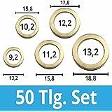FD-Workstuff® Assortiment de 50 rondelles pour gonds de porte Acier laitonné 9, 10, 11, 12 et 13mm de diamètre Charnière