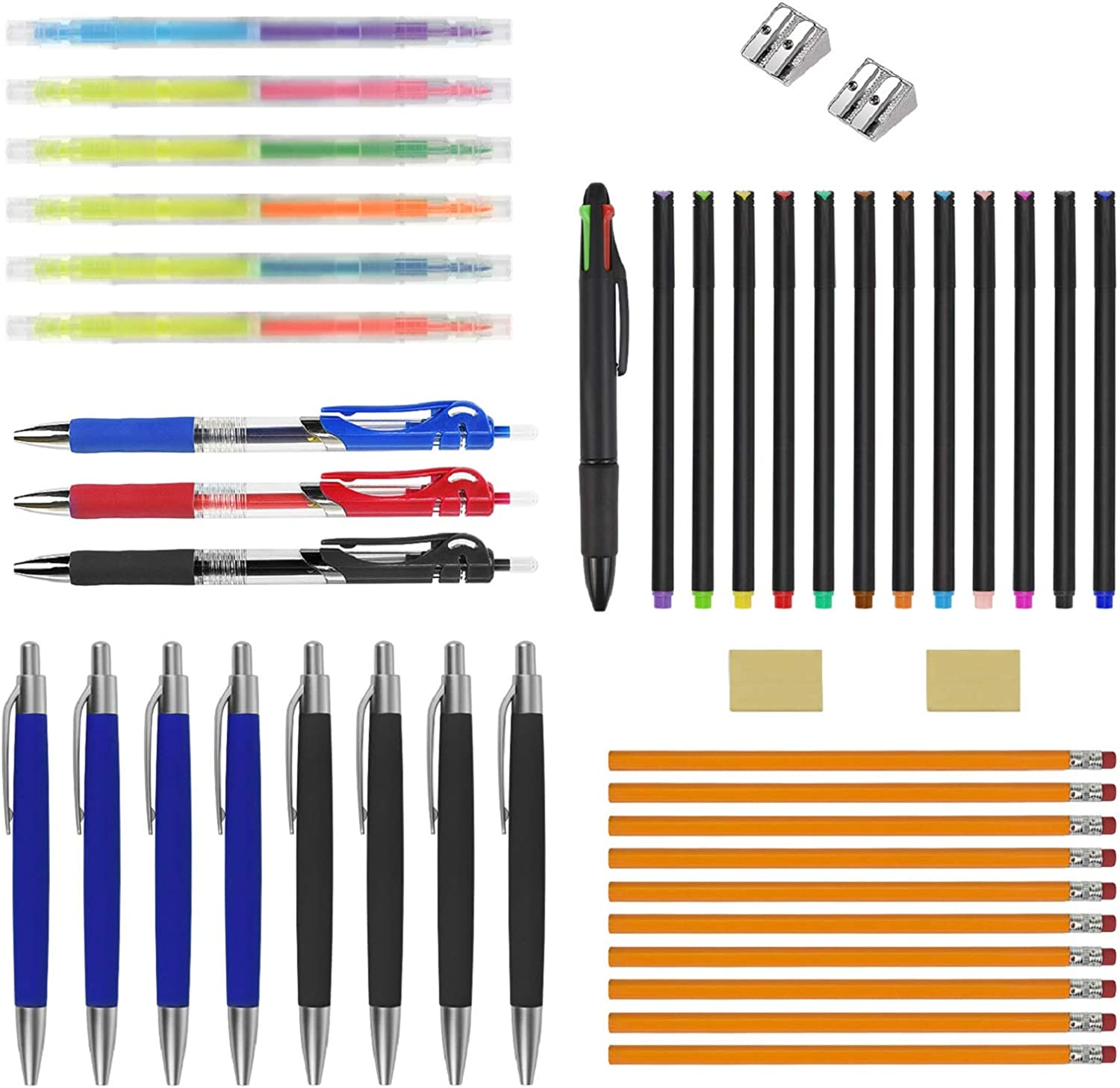 EAONE Writing Essentials Kit- Fineliner Color Pen Highlighter Pen Retractable Multicolor Ballpoint Pens Pencil with Erasers and Pencil Sharpener for Adults Student School Office Supplies-44 Counts